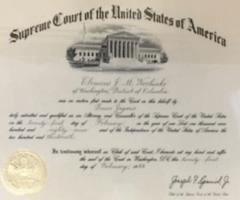 Supreme Court Zulassungsurkunde